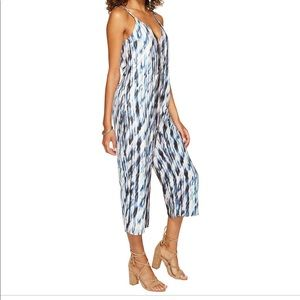 Dolce Vita Faith V-Neck Silk Print Jumpsuit Medium